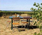Gartentisch mit Blick auf die Dünen und das Meer
