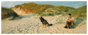 Hund am Meer am Strnd in den Dünen