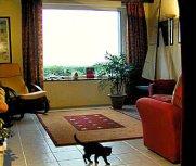 Ferienhaus Wohnzimmer mit fantastischem Blick auf den Atlantik