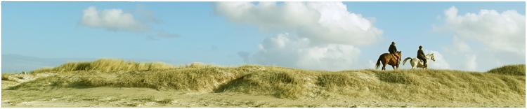 Reiter auf den Dünen am Strand in Tréguennec